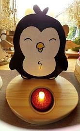 Houten Sfeerlicht Pinguin, uniek, theelichthouder speciaal, bijzondere sfeerlichten, uitgevallen theelichthouder_3