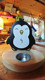 Houten Sfeerlicht Pinguin, uniek, theelichthouder speciaal, bijzondere sfeerlichten, uitgevallen theelichthouder_1