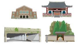 神社 仏閣 史跡 大田黒公園 一橋大学兼松講堂 千駄ヶ谷トンネル