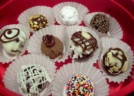 Chocolate truffles, cappaccino truffles and Almond Joy Truffles