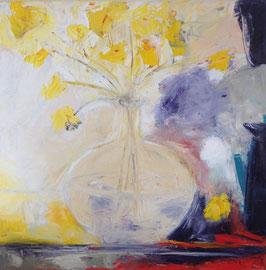 Gelbe Blumen (50x50cm), Öl auf Leinwand
