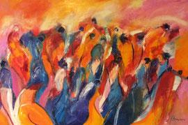 Frauen auf der Flucht (120x80cm), Öl auf Leinwand