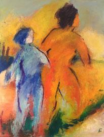 Mutter mit Kind (80x100cm), Acryl auf Leinwand