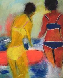 Zwei Frauen mit Wellen-Board (80x100cm), Acryl auf Leinwand