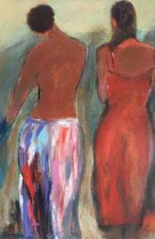 Zwei Mädchen (60x90cm), Acryl auf Leinwand