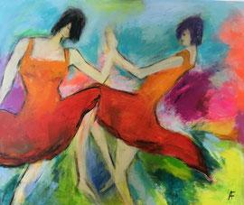 Tanzende Mädchen (120x140cm), Acryl auf Leinwand