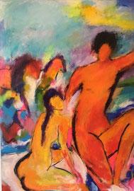 Das Paar (100x140cm), Acryl auf Leinwand