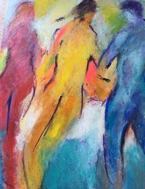 Dynamisches Trio (50x70cm), Acryl auf Leinwand