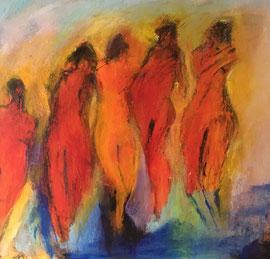 Rote Frauengruppe (40x40cm) Acryl auf Leinwand