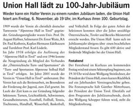 04. Nov. 2009: Haller Stadtzeitung