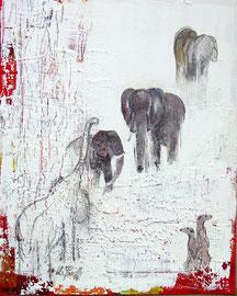 Elefanten - Erdhörnchen, Acryl, 40,5x50,5cm, verkauft
