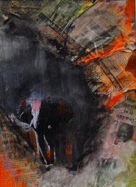 Eensamheid, Aquarell-Mischtechnik, Collage, 27x38cm