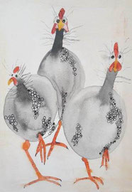 Perlhühner, Aquarell auf Leinwand, 30x40cm, verkauft