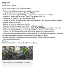 Présentation des objectifs et réalisations du stage de Cloé Perrotin au bureau du Préfet de la Préfecture de l'Yonne