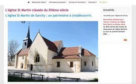 Capture d'écran d'un extrait de la page sur l'église de la commune du site de Garchy réalisée par Cloé Perrotin via E-Bourgogne de Territoires Numériques