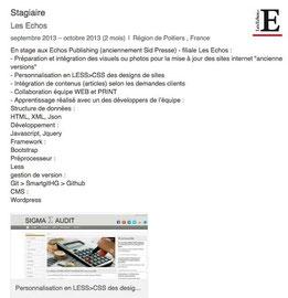Présentation des objectifs et réalisations du stage de Cloé Perrotin aux Echos Publishing (anciennement Sid Presse), filiale Les Echos