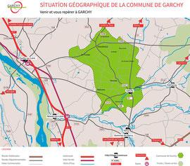 Déclinaisons des couleurs du logo utilisées pour la carte de géolocalisation touristique de Garchy
