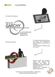 Proposition de tampon et de borne d'accueil de stand de communication ou tourisme pour le logo de la Mairie et Commune de Garchy