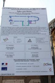 Utilisation de la signature créée par Cloé Perrotin pour un panneau officiel de travaux pour l'église de Garchy