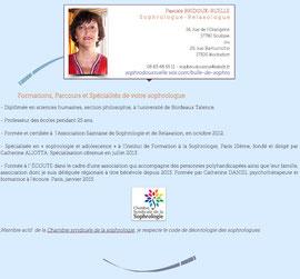 Réorganisation de la présentation du site de Pascale Bridoux-Ruelle la sophrologue de Bulle de Sophro par Cloé Perrotin de l'entreprise Illustr'&vous