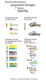 Après un briefing et un benchmark, 4 propositions de logos pour la mairie de Garchy par Cloé Perrotin de l'entreprise Illustr'&Vous