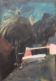 PINK HOUSE 100cm x 70cm, Tempera and Acryl on Canvas, sold