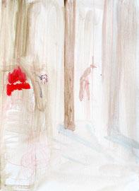 FREIZEIT 2, 29 cm x 21 cm Zeichnung und Acryl auf Leinpapier