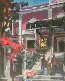 PINK VILLA, 50x40, Acryl & Egg Tempera on Canvas, sold