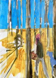 FREIZEIT 1, 29 cm x 21 cm Zeichnung und Acryl auf Leinpapier
