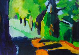 Waldlichtung (2004). Acryl auf festem Papier. 60x80cm