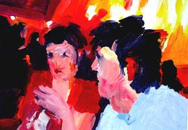 Im Gespräch (2010). Acryl auf festem Papier 60x80cm