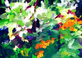 Garten 2013). Acryl auf festem Papier. 60x80cm