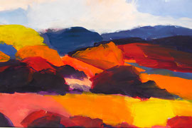 Landschaft abstrakt (2011). Acryl auf festem Papier. 60x80cm
