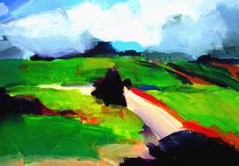 Landschaft (2005,2). Acryl auf festem Papier. 60x80 cm.