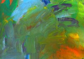 Abstrakt (2005) grün, bunt. Acryl auf festem Papier 60x80cm