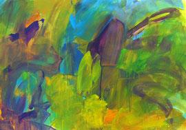 Abstrakt (2005) grün, bunt 2. Acryl auf festem Papier 60x80cm