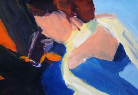 Sitzende Frau (2006). Acryl auf festem Papier 40x60cm