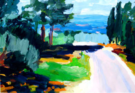 Toskana (2014). Acryl auf festem Papier. 60x80cm