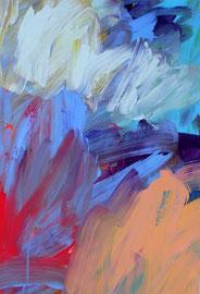 Abstrakt (2014) bunt,2. Acryl auf festem Papier 60x40cm