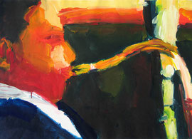 Saxophonspieler (2005). Acryl auf festem Papier 60x80cm