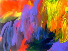 Abstrakt (2011) lila, rot, gelb. Acryl auf festem Papier 60x80cm