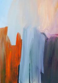 Abstrakt (2014) orange, blau, lila. Acryl auf festem Papier 60x40cm