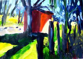 Hütte im Wald (2010). Acryl auf festem Papier. 60x80cm
