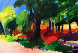 Landschaft mit Baum (2016). Acryl auf festem Papier. 60x80 cm
