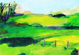 Landschaft (2014). Acryl auf festem Papier. 60x80 cm