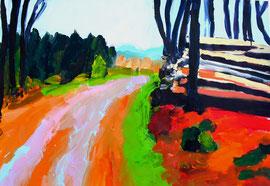 Waldweg (2010). Acryl auf festem Papier. 60x80cm