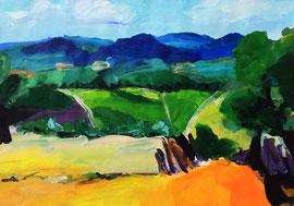 Toskana (2016). Acryl auf festem Papier. 60x80 cm