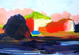 Landschaft (2013). Acryl auf festem Papier 40x60cm