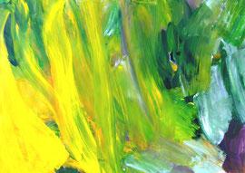 Abstrakt (2013) grün, gelb. Acryl auf festem Papier 60x80cm