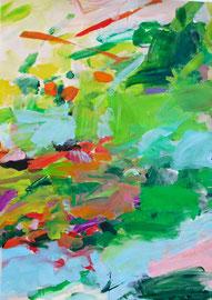 Frühling abstrakt (2019). Acryl auf festem papier 80x60 cm